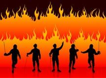 Clôture du sport sur le fond du feu Photo libre de droits