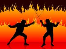 Clôture du sport sur le fond du feu Photos libres de droits