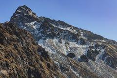 Clôturez vers le haut de la vallée de Yumthang cette vue de haut niveau en hiver chez Lachung Le Sikkim du nord, Inde Image libre de droits