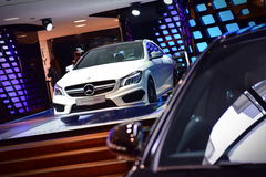 CLA AMG sports coupe on display at the Mercedes Benz gallery along Champ Elysees in Paris Stock Photo