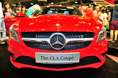 The CLA Coupe of the Mercedes-Benz on display during the Singapore Motorshow 2016 Stock Image