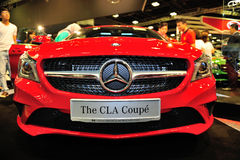 The CLA Coupe of the Mercedes-Benz on display during the Singapore Motorshow 2016 Royalty Free Stock Image