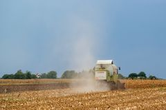 Claas combine harvester working on corn field Royalty Free Stock Photos