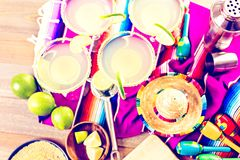 Lime margarita. Claasic lime margarita with garnish lime and turbinado sugar for Fiesta Stock Images