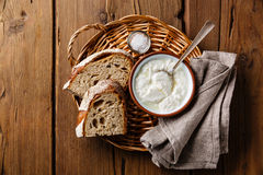 Clabber sour milk and brown rye bread Stock Photos