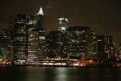Claccical NY. Night view to Manhattan Stock Image