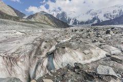 Clacier vicino alla montagna di Belukha, natura di Altai Fotografia Stock