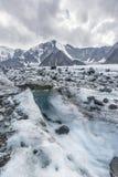 Clacier vicino alla montagna di Belukha, paesaggio di Altai Immagini Stock