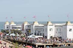 Large crowd on front of Clacton Pier for airshow. Clacton Essex United Kingdom -25 August 2017: Large crowd on front of Clacton Pier for airshow stock image