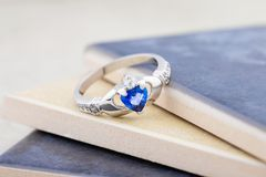 Claddagh ring with blue topaz