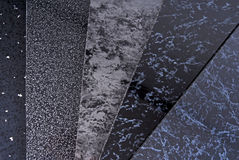 Cladding panel samples. Black pvc plastic cladding panel samples Royalty Free Stock Image
