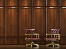 Cladding wall with chairs. Interior design of wood cladding wall with two classic golden chairs Stock Image