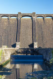 The Claerwen reservoir. Sunny morning, with outflow. Royalty Free Stock Photo