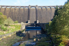 The Claerwen reservoir. Towering dam from below. Stock Image