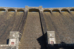The Claerwen reservoir. Towering dam from below. Royalty Free Stock Images