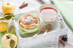 Clafoutis apple on a tray. Stock Images