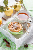 Clafoutis apple on a tray. Royalty Free Stock Photography