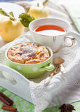 Clafoutis apple on a tray. Royalty Free Stock Image