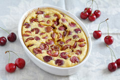 Clafoutis with cherries Royalty Free Stock Photo
