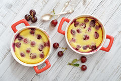 Clafoutis with cherries Royalty Free Stock Images