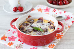Clafoutis with cherries Royalty Free Stock Photos