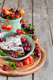 Clafoutis with cherry background Stock Images