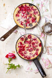 Clafoutis with cherry. style vintage. Royalty Free Stock Images