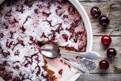 Clafoutis chocolate cake with cherries closeup Stock Photo