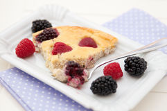 Clafoutis with fresh berries Royalty Free Stock Photography