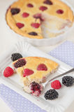 Clafoutis with fresh berries Stock Images