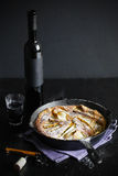 Clafoutis with pears and red dessert wine Royalty Free Stock Images