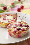 Clafoutis with sour cherry Stock Photo
