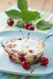 Clafoutis with sour cherry Royalty Free Stock Photos