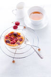 Clafoutis and tea. Royalty Free Stock Images
