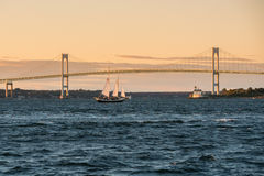 Claiborne Pell Bridge in Nieuwpoort, Rhode Island stock fotografie