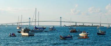 Claiborne Pell Newport Bridge Newport, RI Royaltyfri Foto