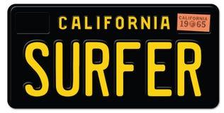 Claifornia Surfter registreringsskylt stock illustrationer