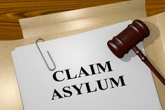 Claim Asylum concept. 3D illustration of CLAIM ASYLUM title on legal document vector illustration