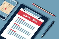 Claim Concept with Clipboard Vector Halftone Isometric Illustration. royalty free stock photography