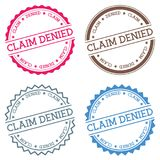 Claim Denied badge isolated on white background. Flat style round label with text. Circular emblem vector illustration Stock Image