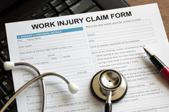 Claim form. For an injury at work Stock Image