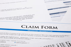 Claim form. Paperwork and legal document, accident and insurance concepts Stock Images