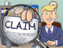 Claim through Magnifying Glass. Doodle Concept. Royalty Free Stock Photo
