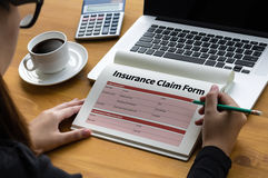 CLAIMS Health insurance form , Business Concept , Insured Claims Stock Photos