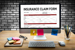 CLAIMS Health insurance form ,  claims document of the customer Royalty Free Stock Photo