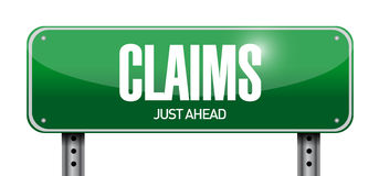 Claims street sign illustration design. Over a white background Royalty Free Stock Image