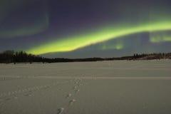 Clair de lune au-dessus de lac figé sous les lumières nordiques Images libres de droits