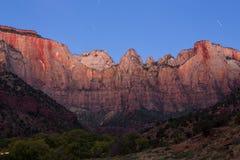Clair de lune aux tours de la Vierge, Zion National Park, Utah Photos stock
