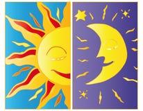 Clair de lune et lumière du soleil. Photos libres de droits
