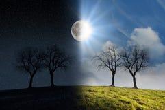 Clair de lune et lumière du soleil Photos libres de droits